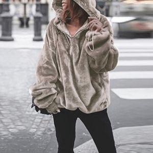 Sweaters - Women's Winter Autumn Fur Hoodie Sweatshirt